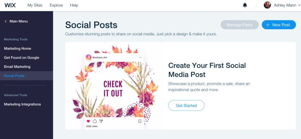 Wix makes it easy to create posts for social media.