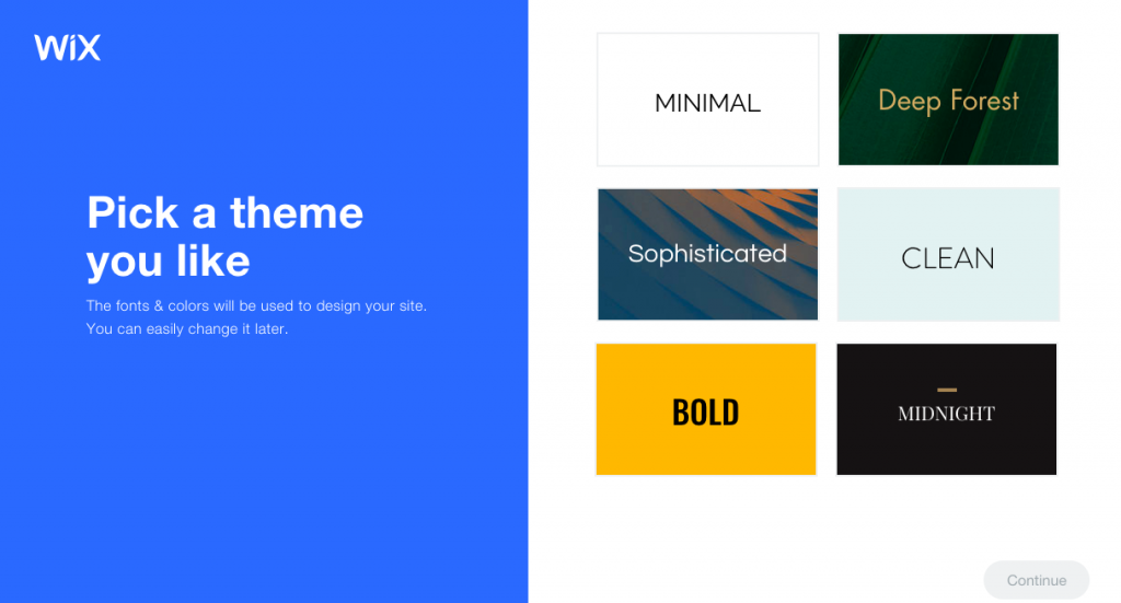 Wix's website builder lets you choose a basic look and feel for your site which you can change later.