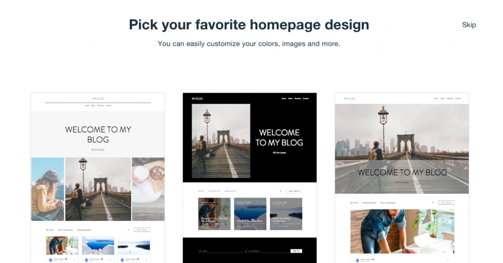 Wix offers several different homepage layouts.