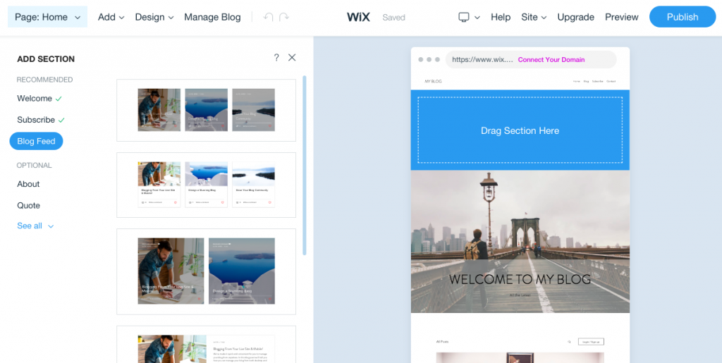 Wix's drag-and-drop website builder lets you easily add sections to your website.