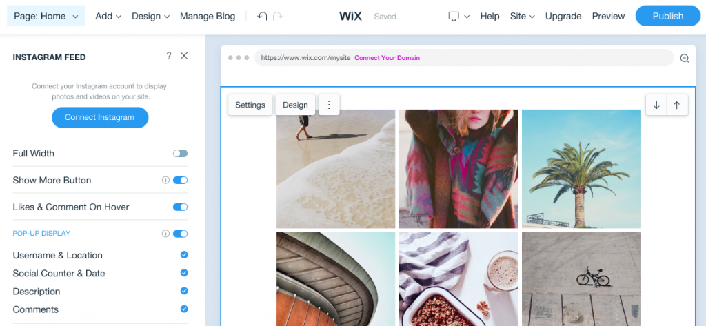 The Instagram feed is a useful feature for building an RV travel blog with Wix.