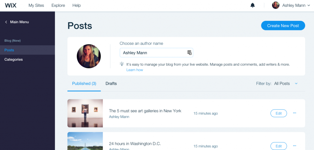 It's easy to add new blog posts to a Wix travel blog.