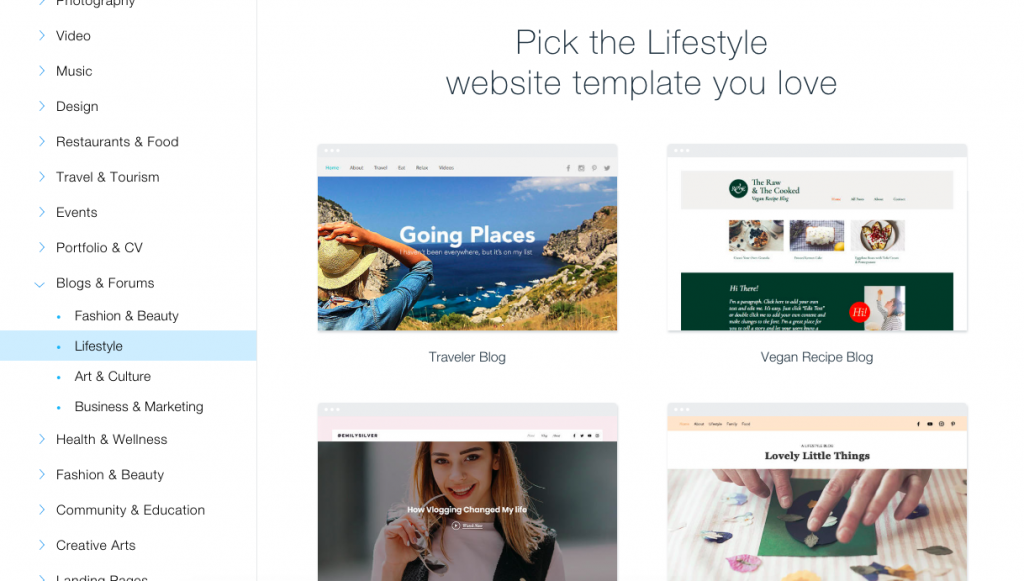 Wix has lots of pre-built templates that you customize to save you time setting up your site.