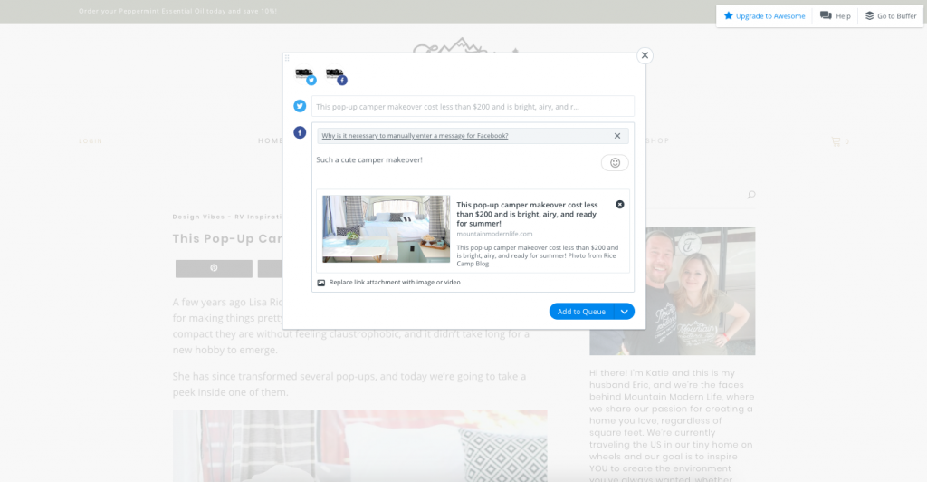 Buffer makes it easy to drip content to your social media accounts.