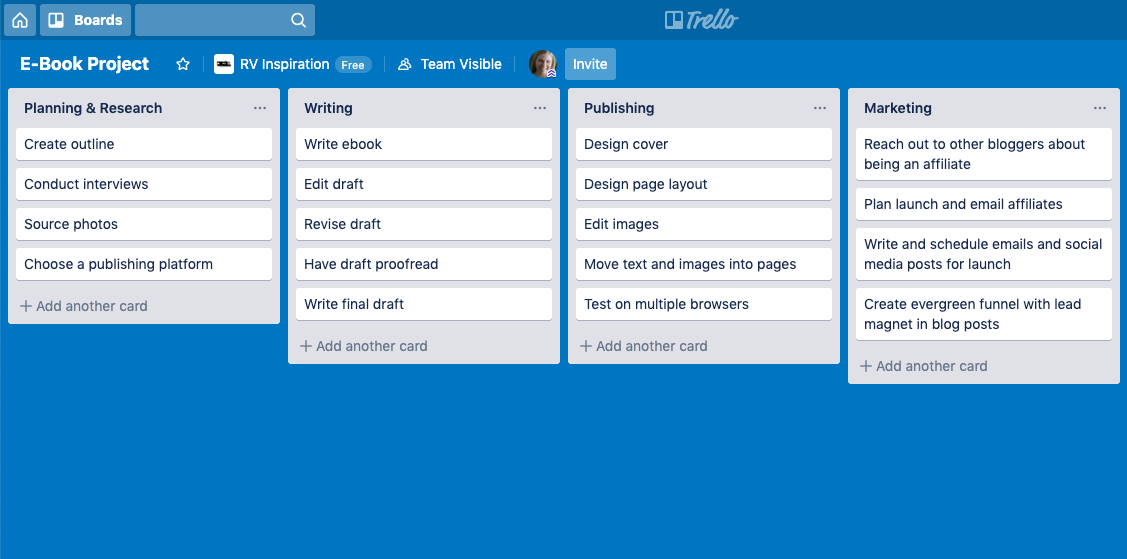 Sample Project Planning in Trello